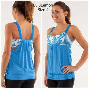 LuluLemon Back on Track Blue & White Tank